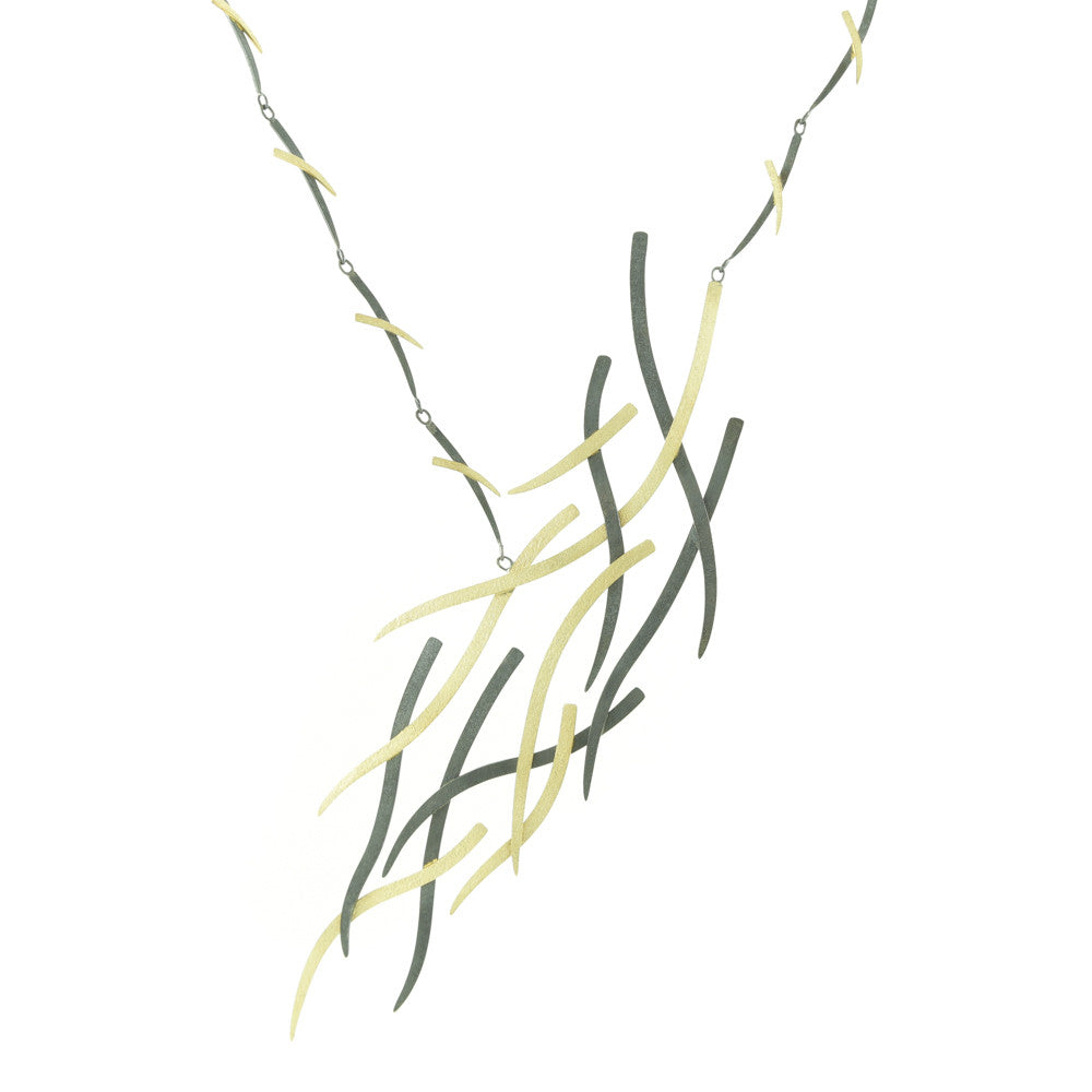 14K Gold and Silver Woven Statement Necklace-Hozoni Designs