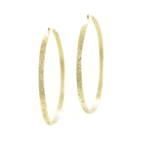 14K Gold Textured Hoop Earrings with White Diamonds-Yellow Gold-Hozoni Designs