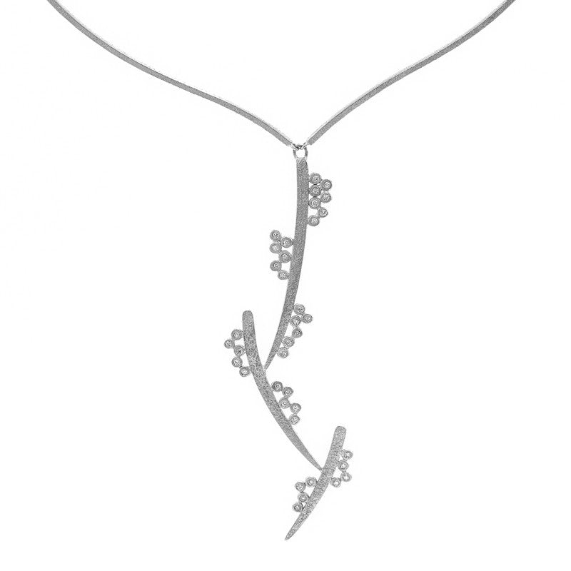 14K White Gold and Diamond Woven Cluster Necklace-White Gold-Hozoni Designs