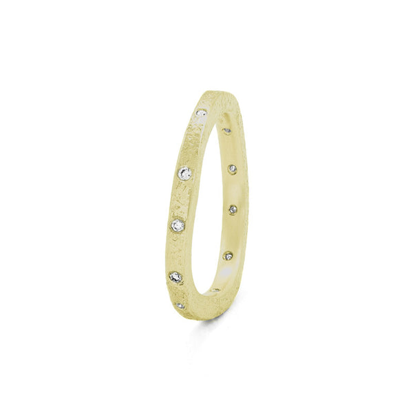 Women's 14K Gold Thin Organic Eternity Band With White Diamonds-4-Hozoni Designs