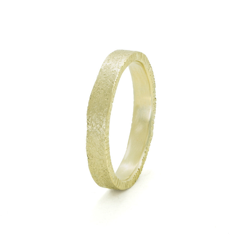 Women's 14K Gold Uneven Edge Band-4-Hozoni Designs