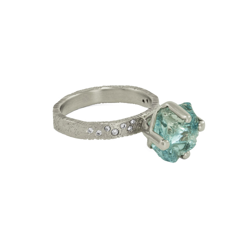Women's 14K White Gold Rough Aquamarine Ring with Diamonds