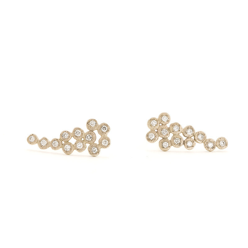 14K Gold Cluster Ear Climber Earrings with White Diamonds-Champagne Gold-Hozoni Designs