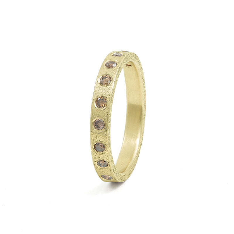 Women's 14K Gold 3mm Rustic Band with Flush Set Brown Diamonds-4-Hozoni Designs