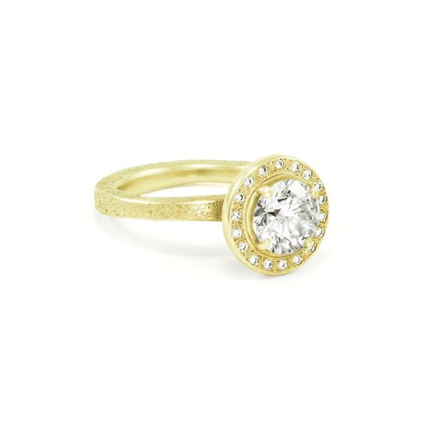 Women's Rustic Traditional Gold Engagement Ring with Thin Organic Band and Halo-5-Hozoni Designs