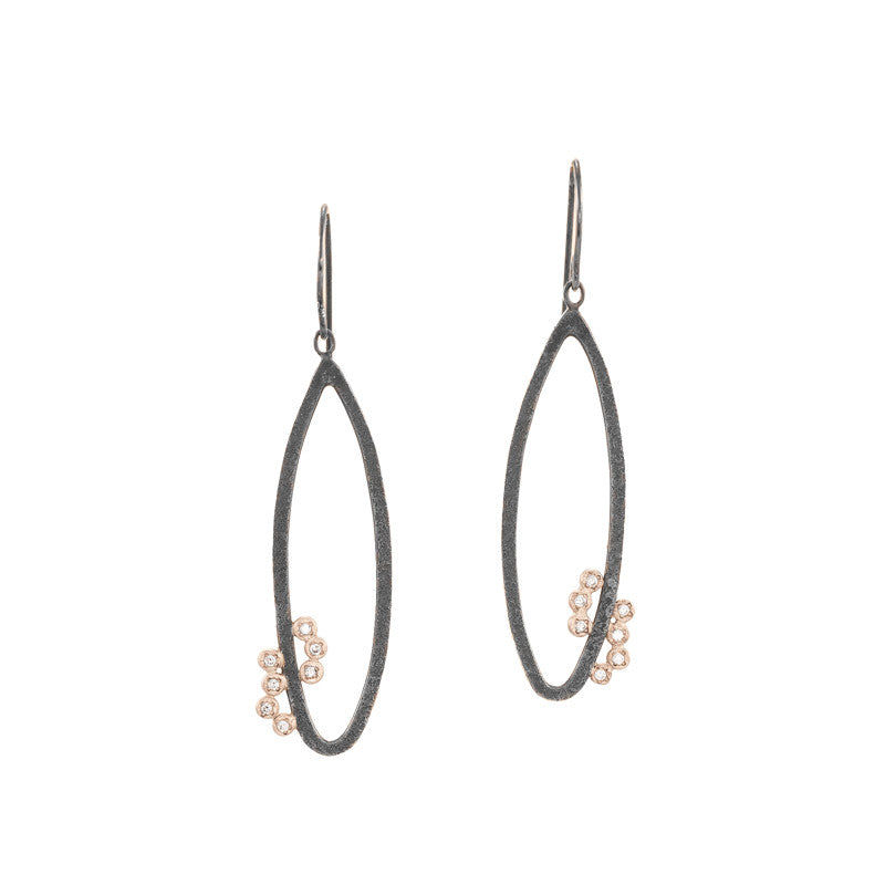 Sterling Silver and 14K Gold Oval Earrings With Diamond Clusters - Hozoni Designs