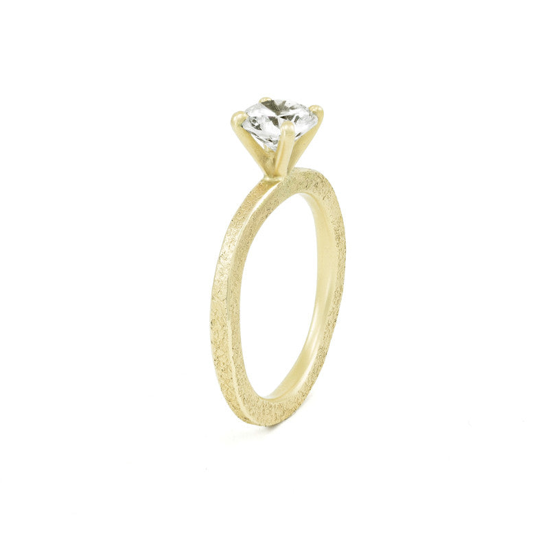 Women's Rustic Traditional Gold Engagement Ring with Thin Organic Band-5-Hozoni Designs