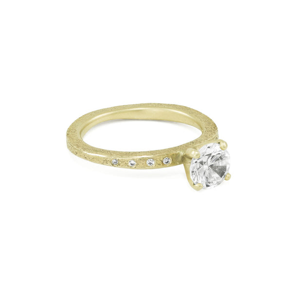 Women's Rustic Traditional Gold Engagement Ring with Thin Organic Band and Side Diamonds-5-Hozoni Designs