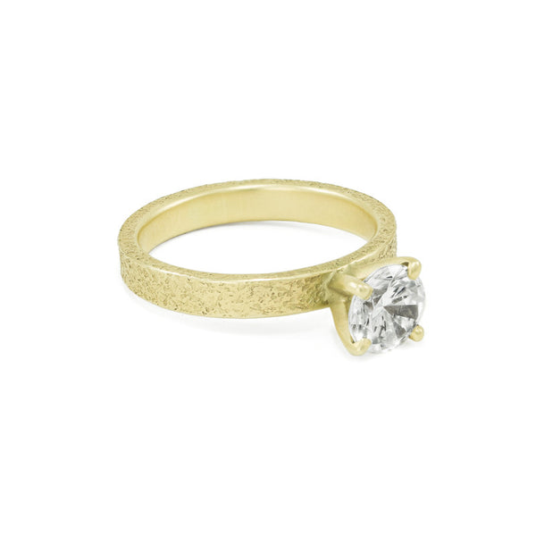 Women's Rustic Traditional Gold Engagement Ring with 3mm Band-5-Hozoni Designs
