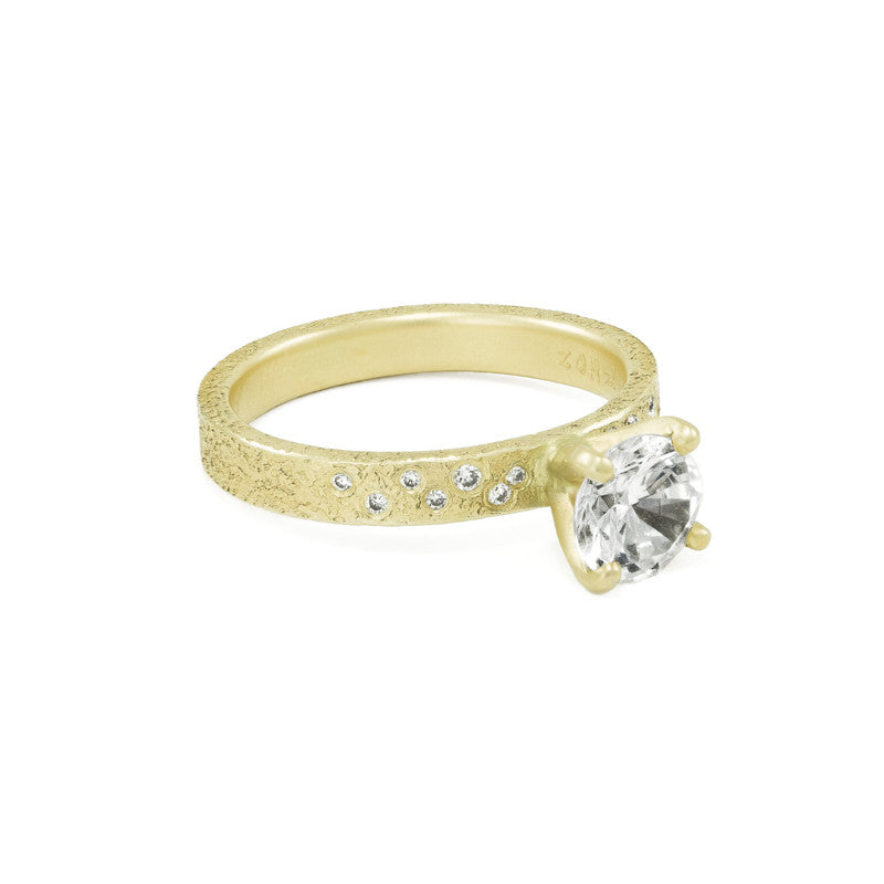 Women's Rustic Traditional Gold Engagement Ring with 3mm Band and Side Diamonds-5-Hozoni Designs