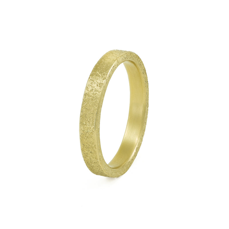 Women's 14K Gold 3mm Rustic Band - Hozoni Designs