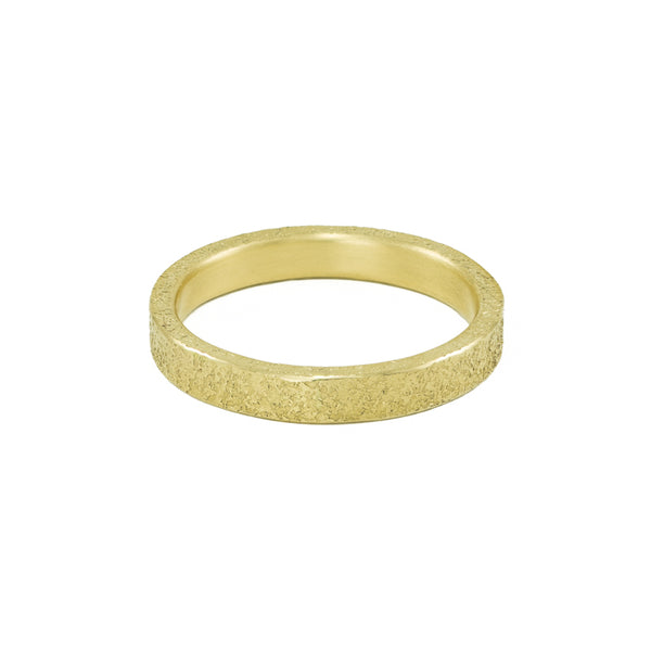 Women's 14K Gold 3mm Rustic Band with Flush Set White Diamonds-4-Hozoni Designs