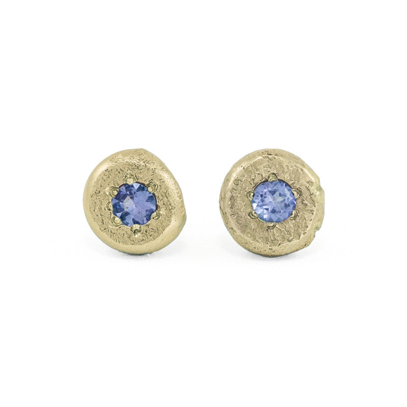 14K Gold Button Stud Earrings - Various Gemstones-Yellow Gold-Hozoni Designs