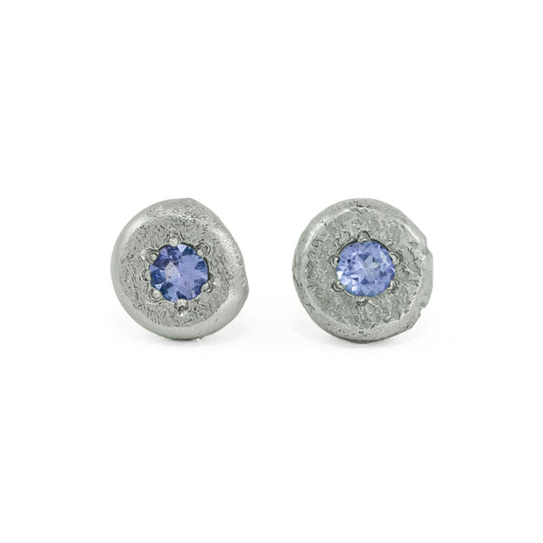 14K Gold Button Stud Earrings - Tanzanite