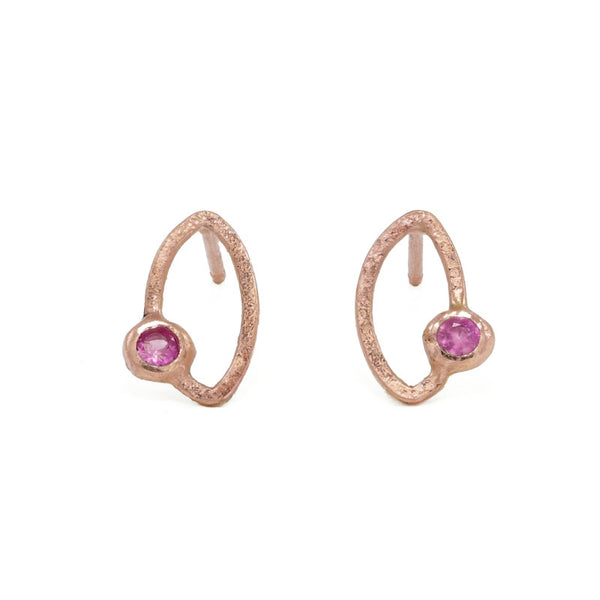 14K Gold Marquise Stud Earrings - Various Gemstones-Rose Gold-Hozoni Designs