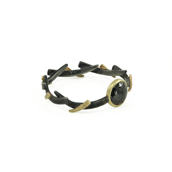 14K Gold & Sterling Silver Black Diamond Woven Ring