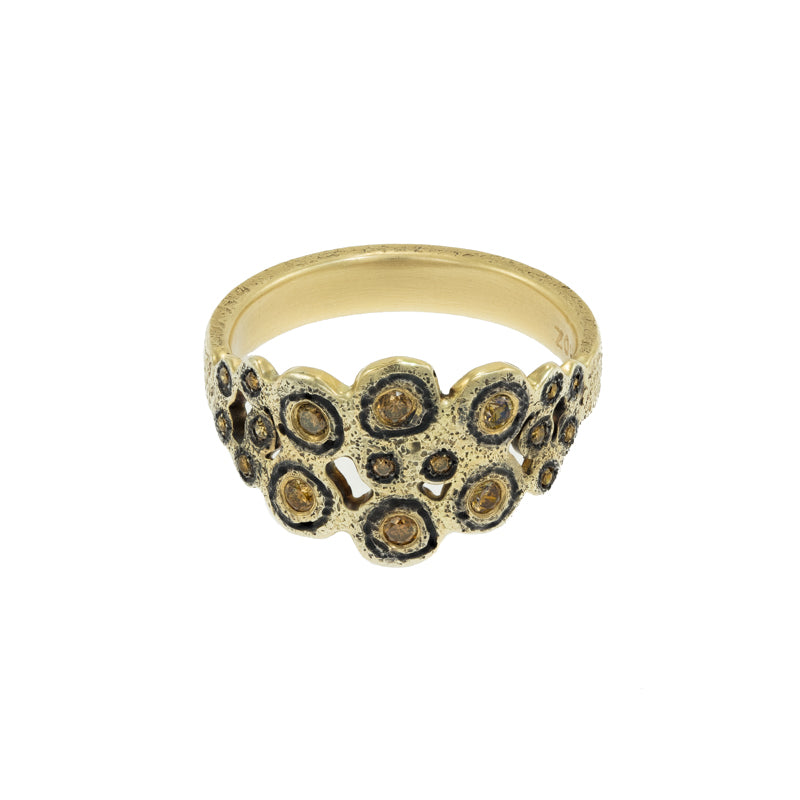 14K Gold & Sterling Silver Leopard Ring with Brown Diamonds - Hozoni Designs