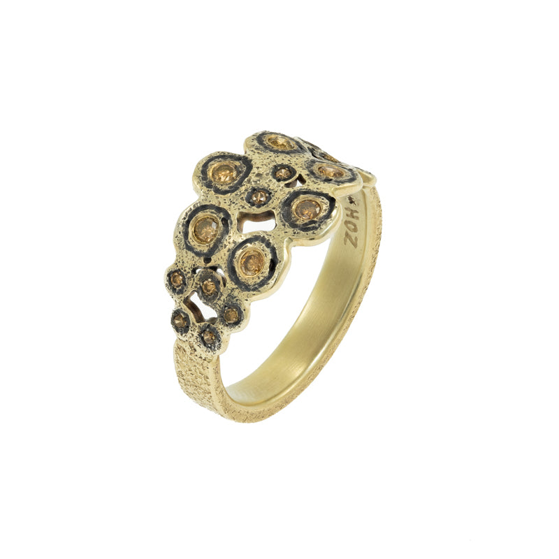 14K Gold & Sterling Silver Leopard Ring with Brown Diamonds