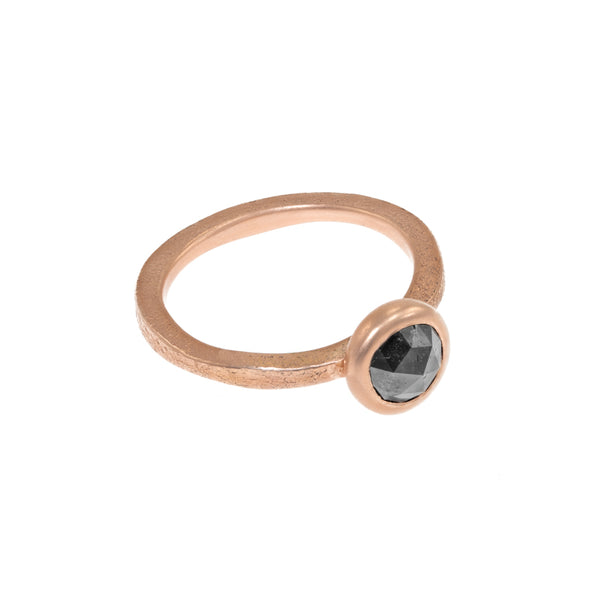 Women's 14K Rose Gold Rustic Grey Diamond Ring - Hozoni Designs