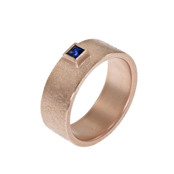 Men's 14K Gold Rustic Band with Princess Cut Sapphire - Hozoni Designs