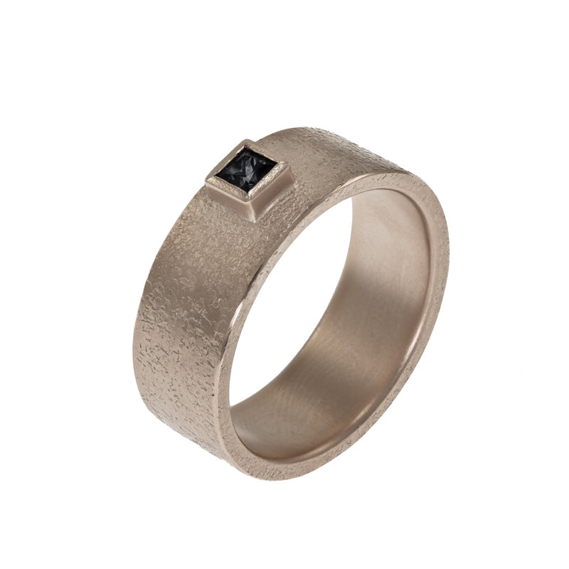 Men's 14K Gold Rustic Band with Princess Cut Black Diamond