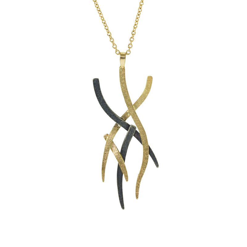 14K Gold and Silver Small Woven Necklace