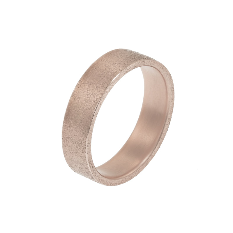 Men's 14K Gold Rustic Band, 6mm - Hozoni Designs