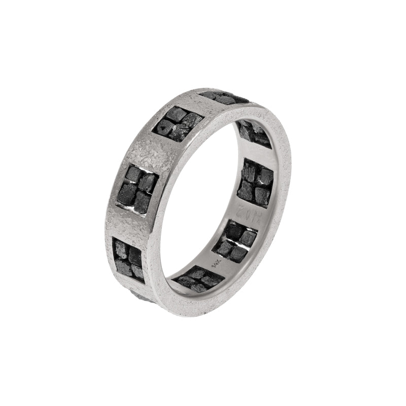 Men's 14K Gold Band with Raw Black Diamond Quads - Hozoni Designs