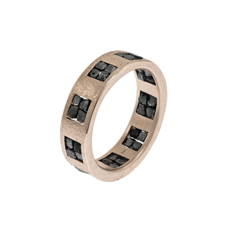 Men's 14K Gold Band with Raw Black Diamond Quads