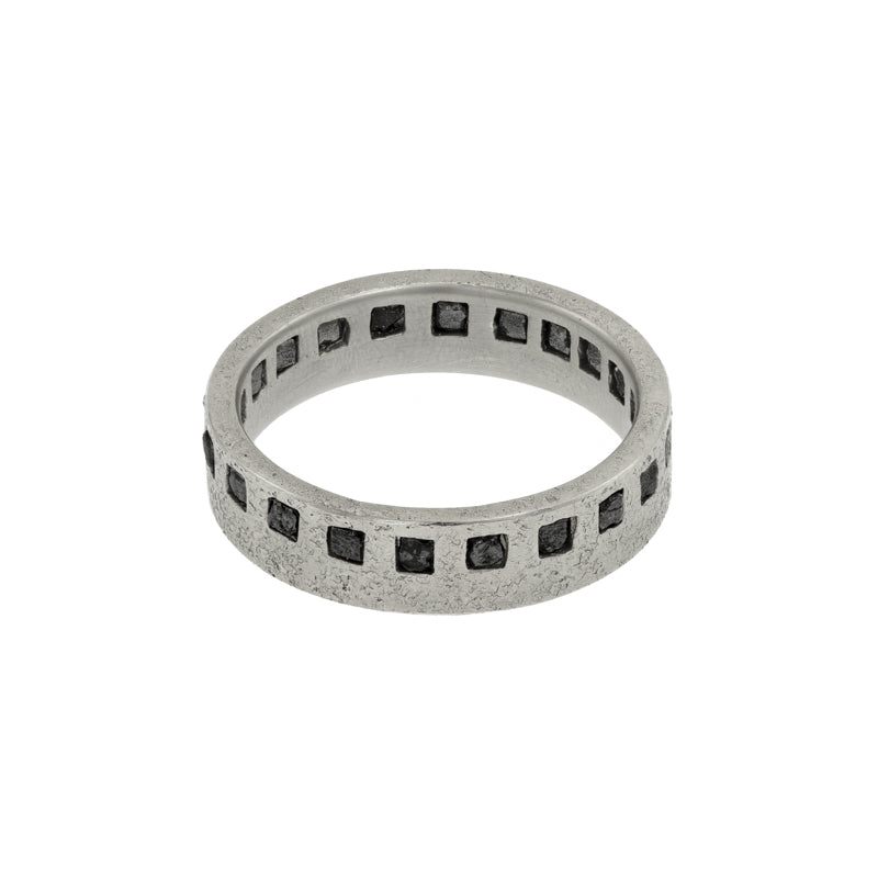 Men's 14K Gold Raw Black Diamond Eternity Band - Hozoni Designs