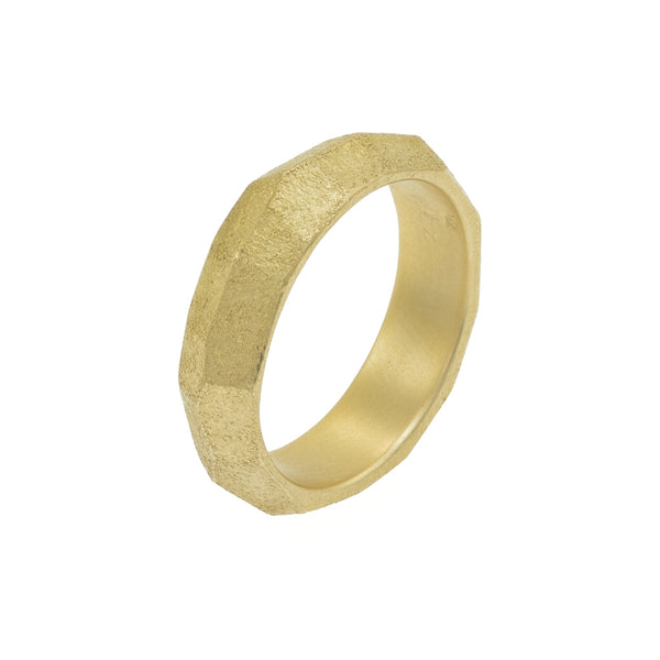 Men's 14K Gold Faceted Band - Hozoni Designs