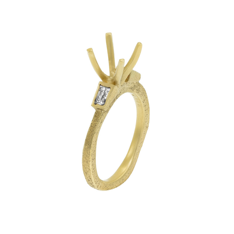 Women's Rustic Traditional Gold Engagement Ring with Tapered Baguettes - Hozoni Designs