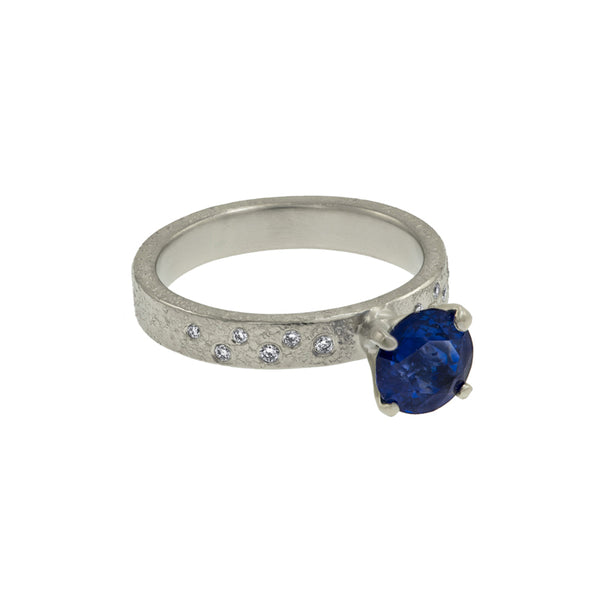Round Blue Sapphire Gold Engagement Ring-3mm Band w Side Diamonds
