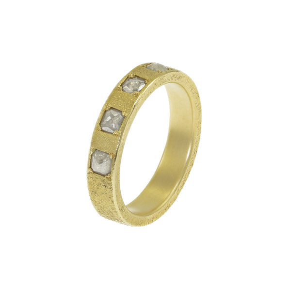 Women's 14K Gold Band with Rustic White Cushion Cut Diamonds - Hozoni Designs