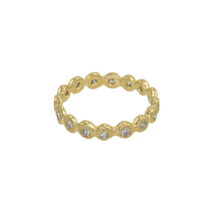 Women's 14K Gold Droplet Eternity Band with White Diamonds - Hozoni Designs