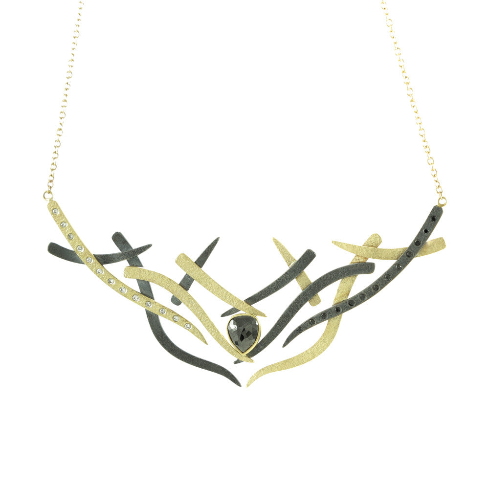 14K Gold and Sterling Silver Woven Necklace with Black and White Diamonds-Yellow Gold-Hozoni Designs