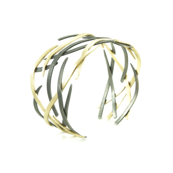 14K Gold and Sterling Silver Woven Cuff Bracelet - Wholesale-Yellow Gold-Hozoni Designs