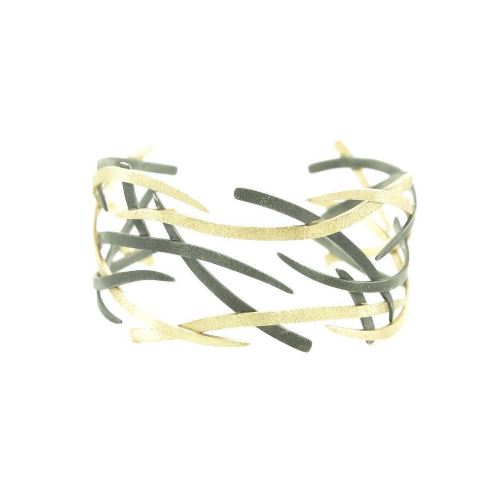 14K Gold and Sterling Silver Woven Cuff Bracelet-Yellow Gold-Hozoni Designs
