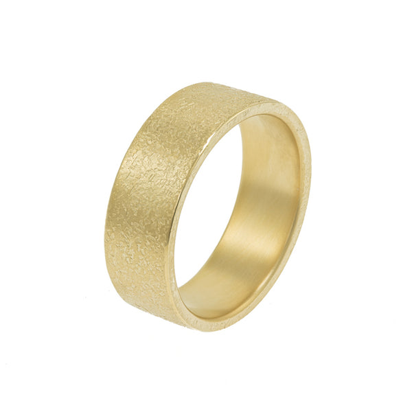 Men's 14K Gold Rustic Band, 8mm