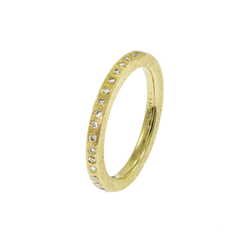 Women's 14K Gold Thin Rustic Band with Flush Set White Diamonds