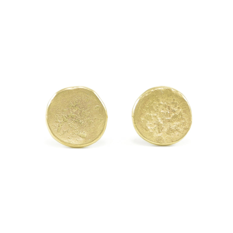 14K Gold Organic Stud Earrings
