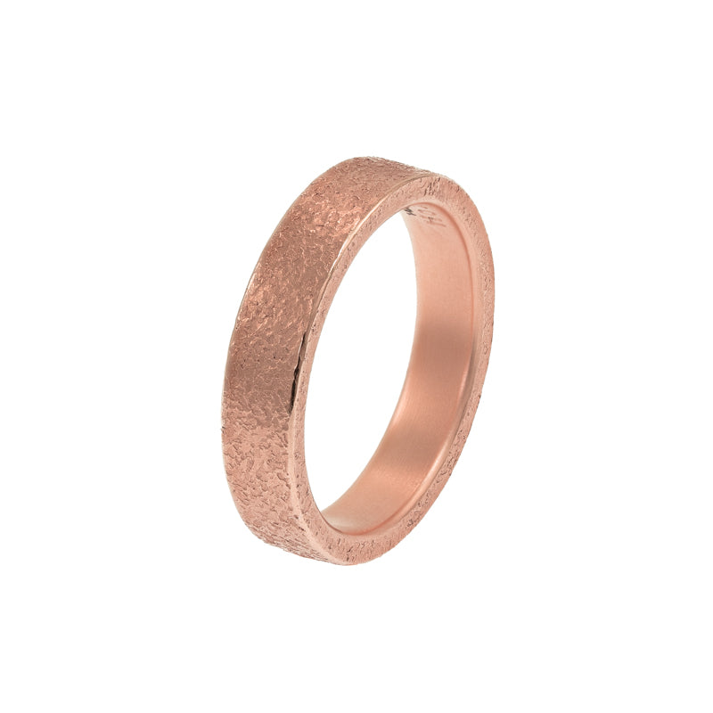 Men's 14K Gold Rustic Band, 4mm - Hozoni Designs
