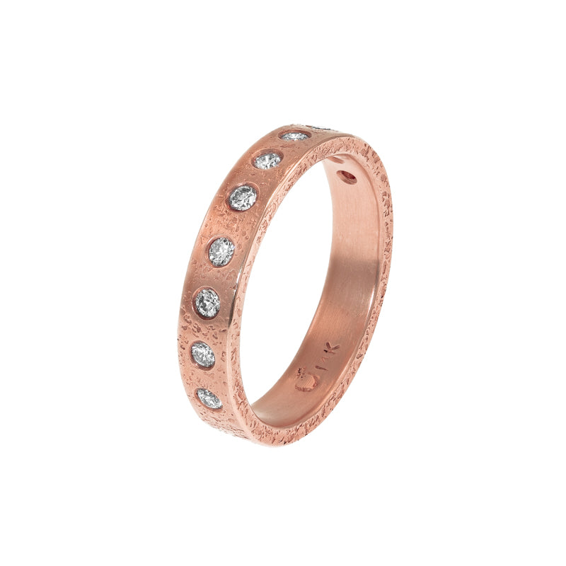 Women's 14K Gold 4mm Rustic Band with Five Flush Set White Diamonds - Hozoni Designs