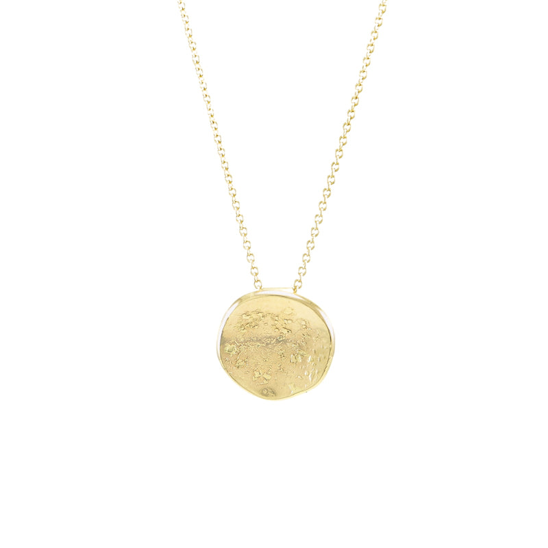 14K Gold Organic Disc Necklace