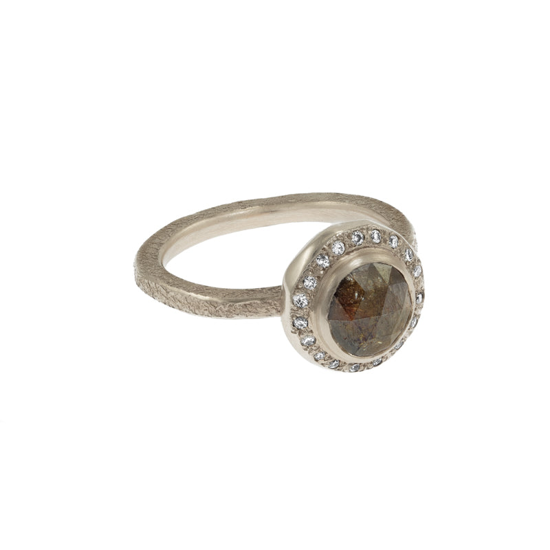 Women's 14K Champagne Gold Rustic Natural Brown Diamond Ring with Diamond Halo