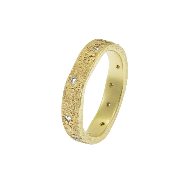 Women's 14K Gold Organic Band with White Diamonds