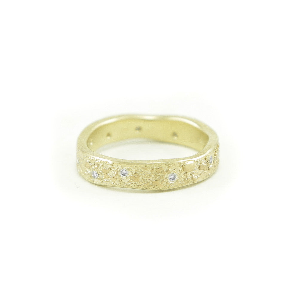 Women's 14K Gold Organic Band with White Diamonds-4-Hozoni Designs
