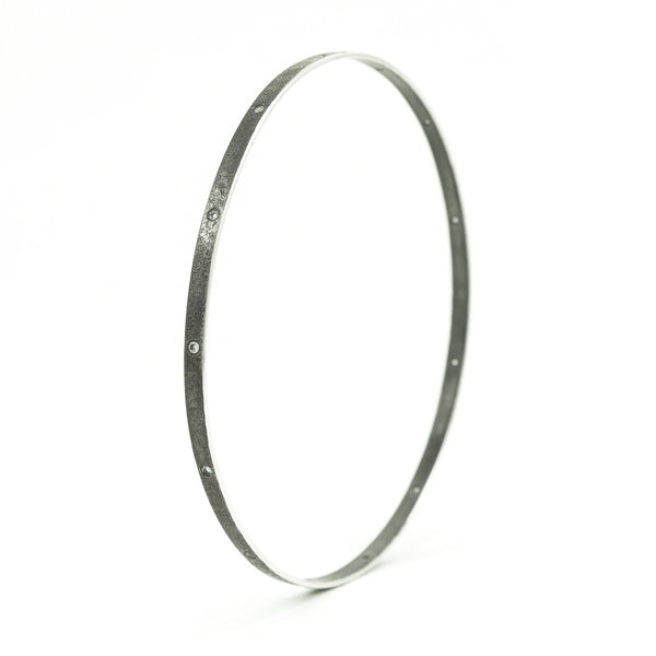 Thin Sterling Silver Bangle Bracelet with Flush Set White Diamonds - Hozoni Designs