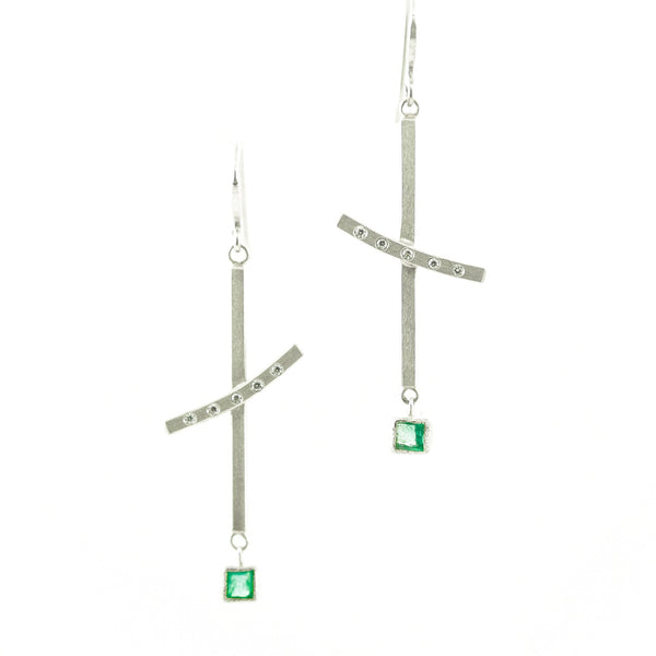 Sterling Silver Dangle Earrings with Princess Cut Emeralds and White Diamonds-Hozoni Designs