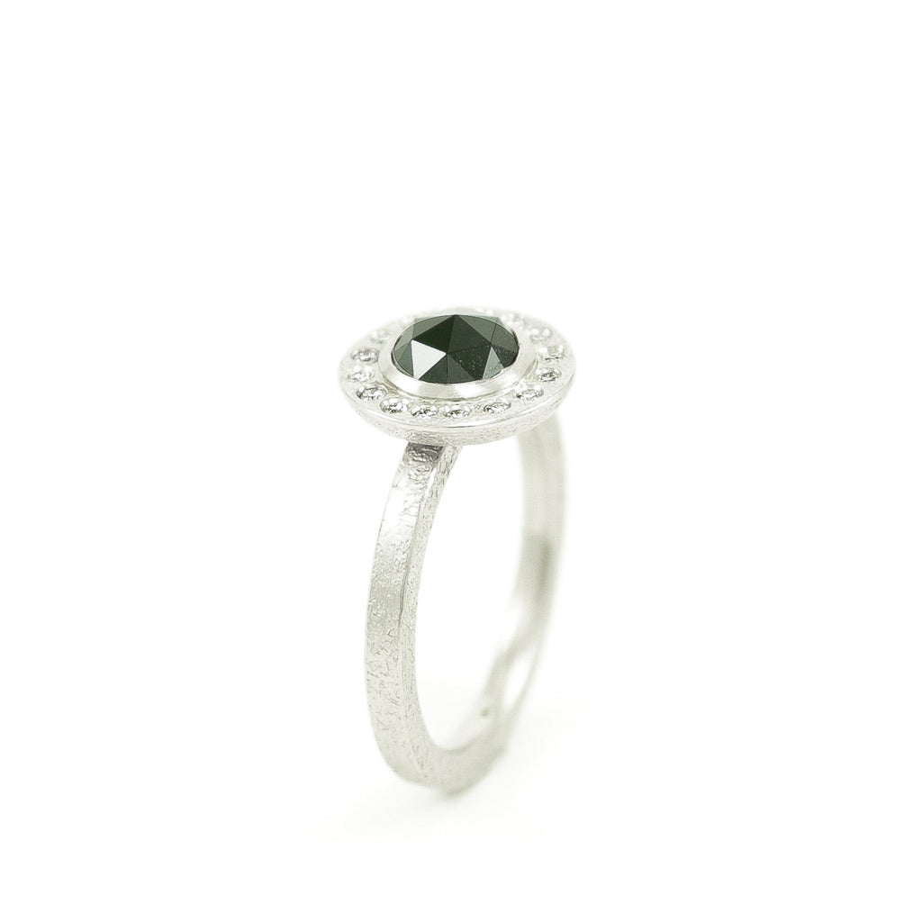 Women's 14K White Gold Rustic Black Diamond Ring with Diamond Halo-5-Hozoni Designs